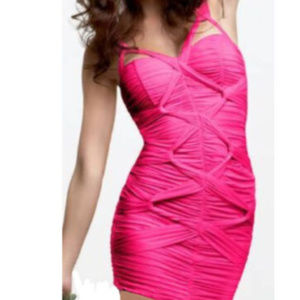 bebe hot pink knotted ruched cutout dress M